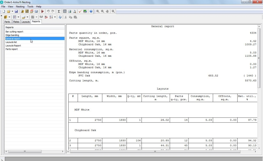 Astra R-Nesting - Sheet nesting software